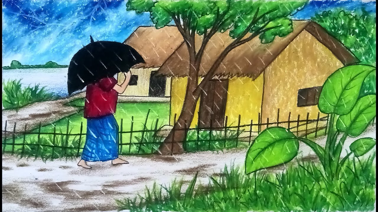 How to draw scenery of rainy season with color step by step very easy drawing video
