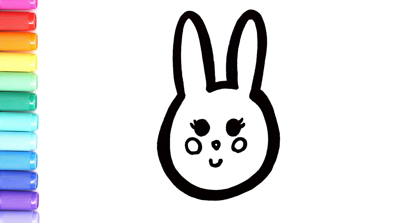 The cutest Easter bunny coloring page | drawing a cute bunny | Learn to  color 💜(4K)