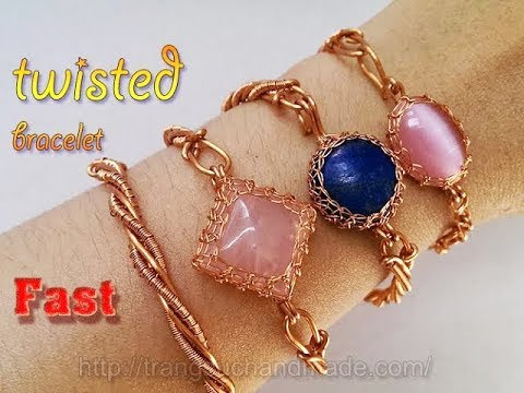 Couple twisted bracelet with copper wire and stone without holes - Fast version 341