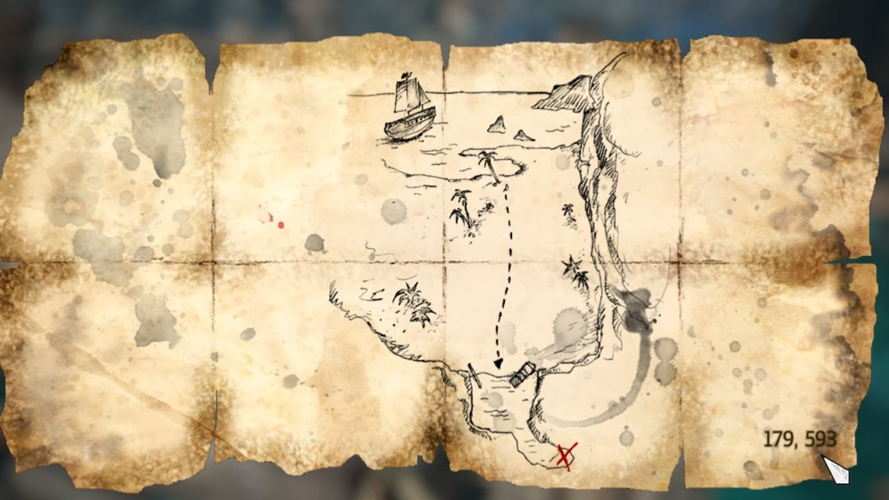Black Flag Treasure Maps Assassins Creed IV Black Flag | treasure map 179, 593   YouTube
