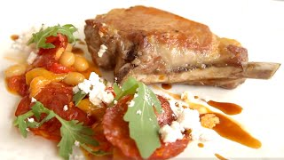 Iberico Pork Chop With Beans, Chorizo And Rocket By Simpsons Restaurant