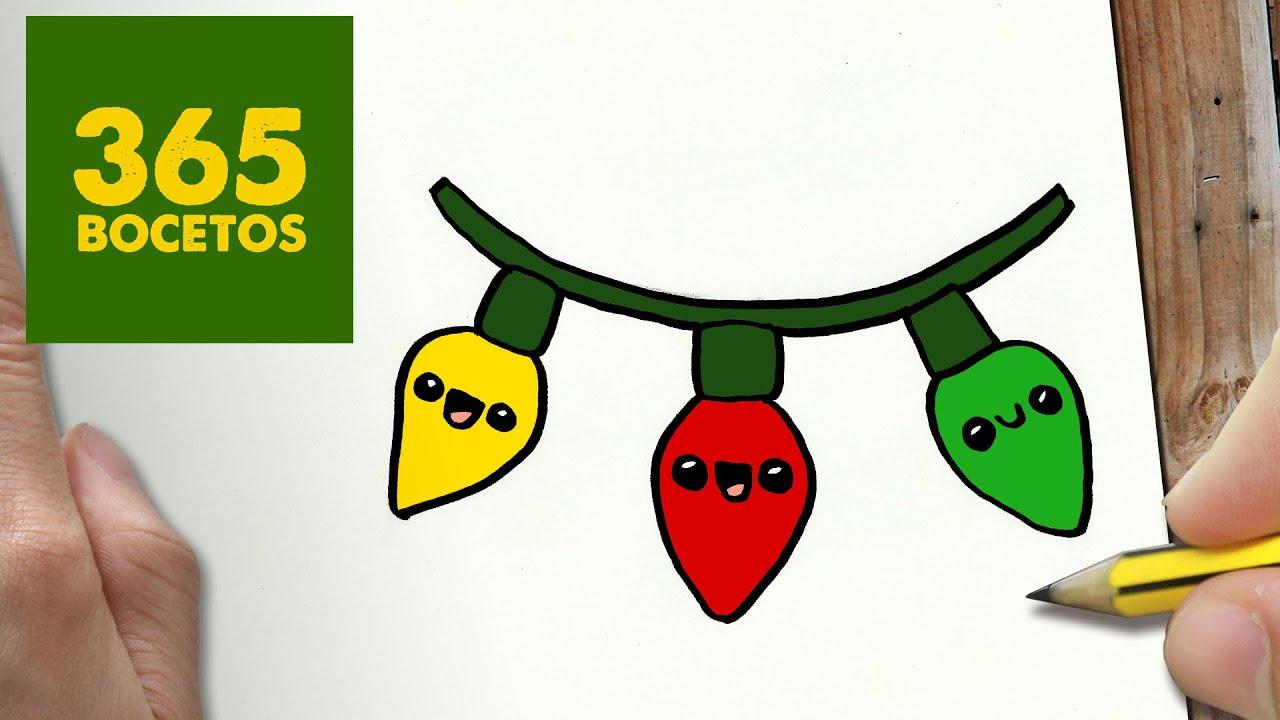 Como dibujar luces para navidad paso a paso dibujos kawaii navide os how to draw a lights - Luces arbol de navidad ...