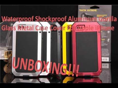 hot sale online 1fdc1 6ca39 Waterproof Shockproof Aluminum Gorilla Glass Metal Case Cover For Apple  iPhone unboxing