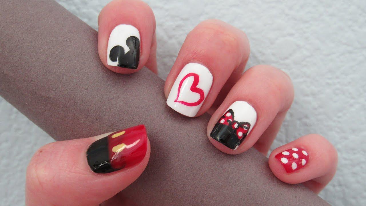 Mickey & Minnie Love Nail Art Design | TheGypsyBox - YouTube