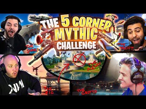 THE FORTNITE 5 CORNER MYTHIC CHALLENGE! FT. NINJA, SYPHERPK & COURAGEJD