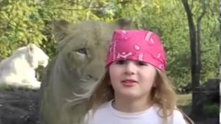 Lion sneaks up behind little girl
