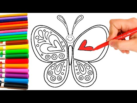 Dibuja y Colorea UNA MARIPOSA 🎨 Aprende los colores del Arcoiris dibujando y pintando para niños