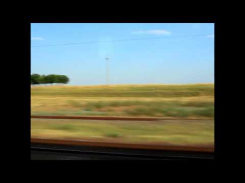 Travelling by train through the Romanian plain