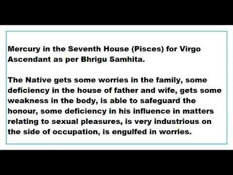 mercury in 7th House for virgo Ascendant as per Bhrigu