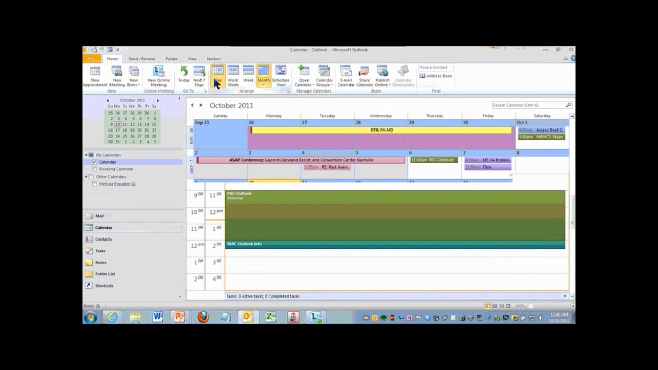 calendar color code in outlook 2010 youtube