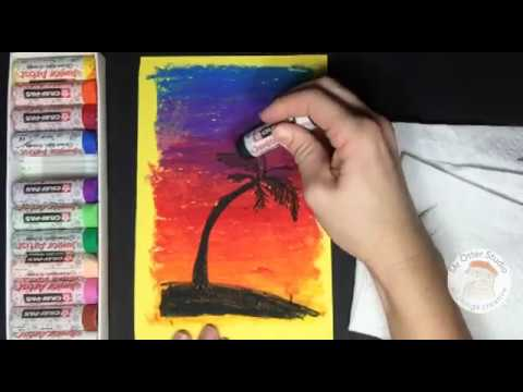 How To Draw A Sunset With A Palm Tree In Oil Pastel Youtube