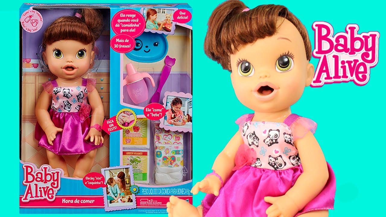 63ee3e96e Boneca Baby Alive Hora de Comer Morena com Papinha e Fraldinha Review ToysBR
