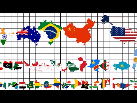 Country Size Comparison (All 195 Flag Map Ranking)