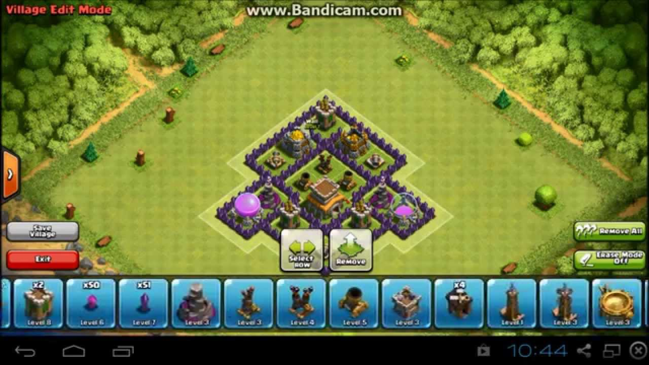 Clash Of Clans TH6 defense base/Clan Wars base - YouTube