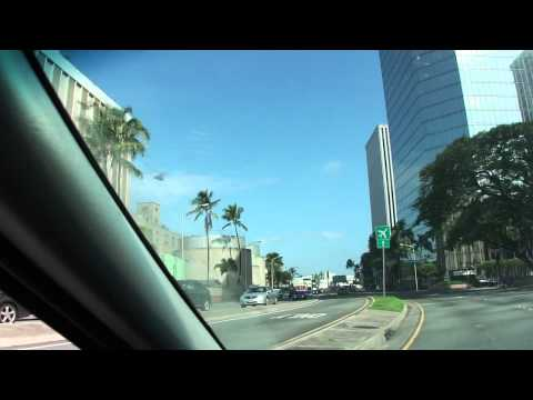 Driving around downtown Honolulu