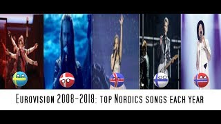 Eurovision 2008-2018: top Nordics songs each year