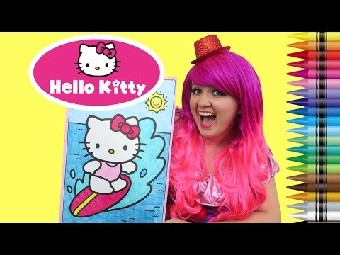 Coloring Hello Kitty Surfing Sanrio GIANT Coloring Book Page Crayola Crayons | KiMMi THE CLOWN