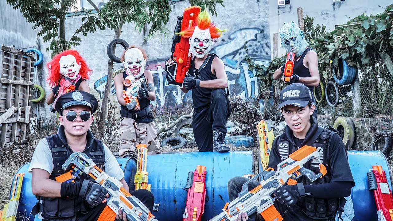 MASK Nerf War : Two Alpha Warriors Nerf Guns Fight Criminal Group King's Man MASK Nerf Shooter's