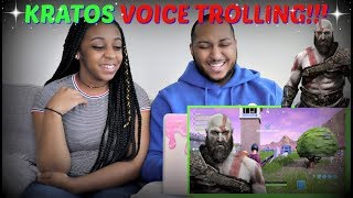 "Azerrz ""GOD OF WAR Voice TROLLING on FORTNITE! (Kratos Impression)"" REACTION!!!"
