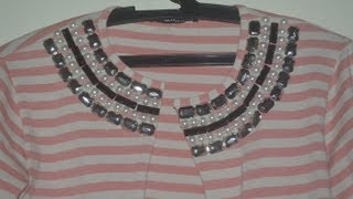 Transformando blusa em cardigan com pedraria por Lila Pink