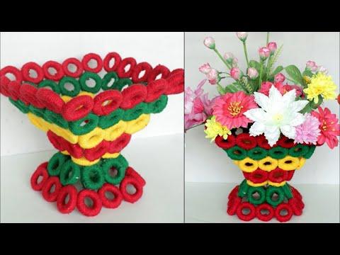 WOW ! Beautiful Decorative Flower Basket Making at Home /Handmade Craft   DIY Room Decor Flower Vase