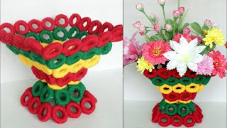WOW ! Beautiful Decorative Flower Basket Making at Home /Handmade Craft | DIY Room Decor Flower Vase