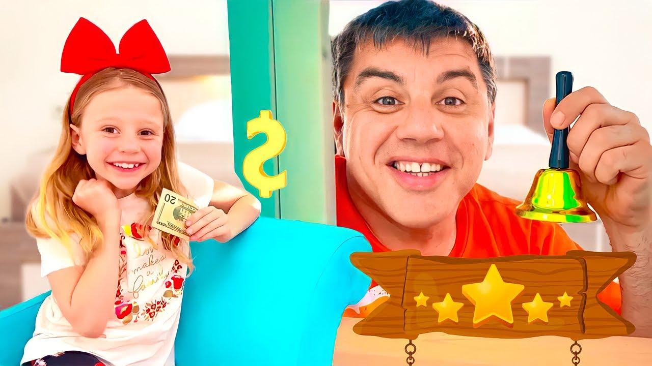 Nastya finge brincar com o pai no hotel das crianças
