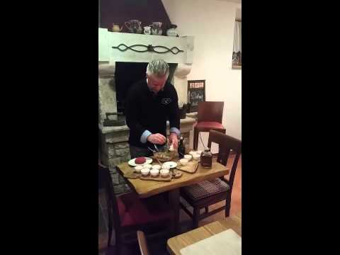 Preparing tartar steak with boskarin meat (Istrian ox)