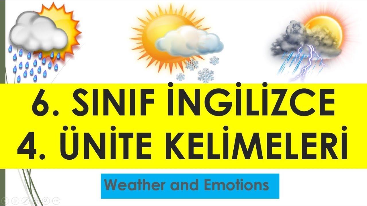 Sinif Ingilizce 4 Unite Weather And Emotions Kelimeleri