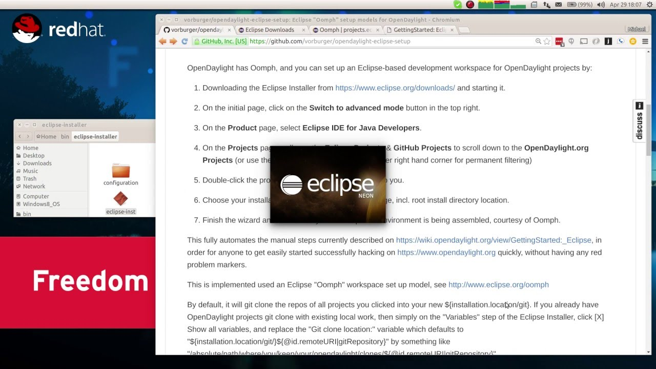 OpenDaylight has Oomph, Eclipse org Installer for automated workspace  provisioning