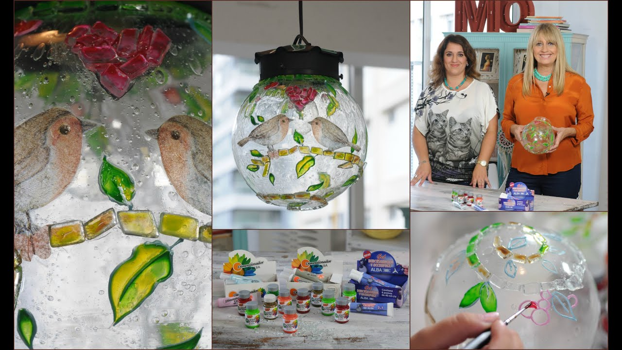 Pintar sobre Vidrio - Lampara Bocha - Lacas Vitrales al Agua - YouTube
