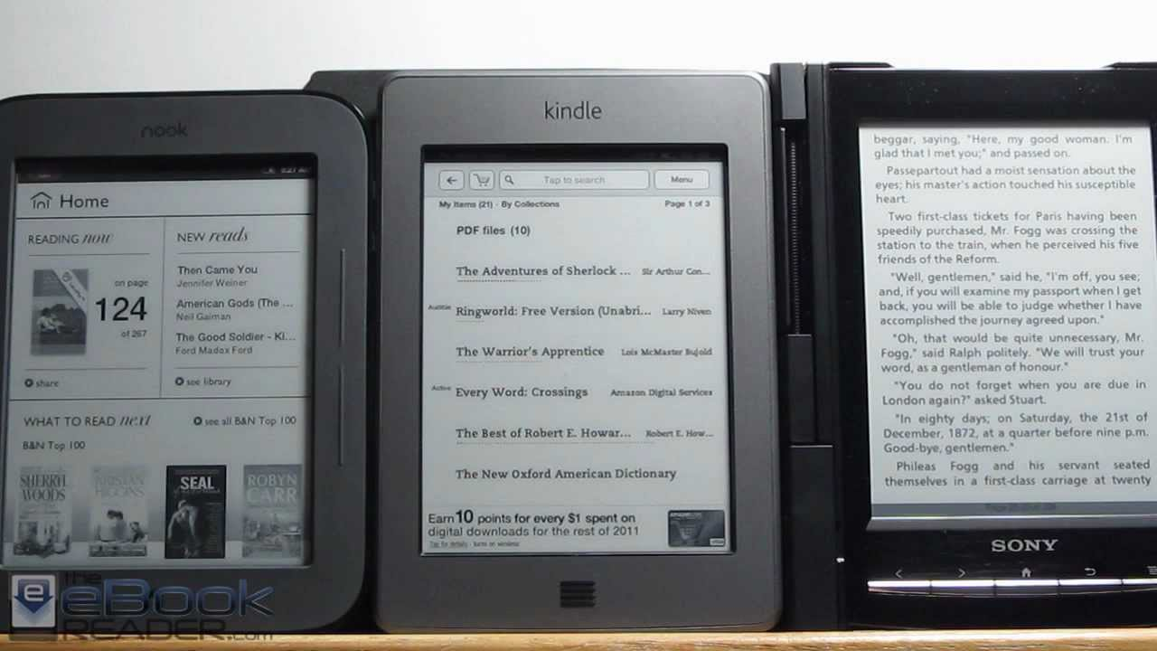 Nook Reader Vs Kindle Reader: Kindle Touch Vs Nook Touch And Sony Reader PRS-T1