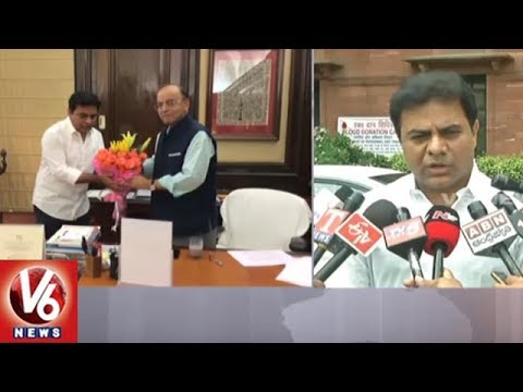 KTR Meets Union Minister Arun Jaitley | Urge To Increase FRBM Limit | V6 News