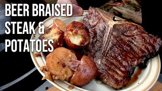 beer braised potatoes and steak