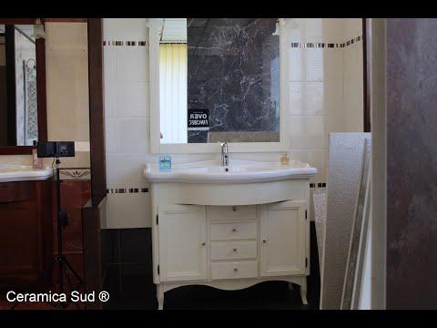 Mobile da Bagno classico color bianco in vero legno e porcellana