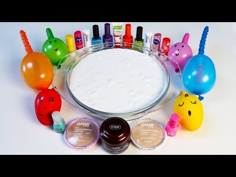 Mixing Makeup Into Glossy Slime ! RELAXING SLIME WITH FUNNY BALLOONS