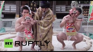 "More than 100 babies face off in a traditional ""crying sumo"" ring in Japan"