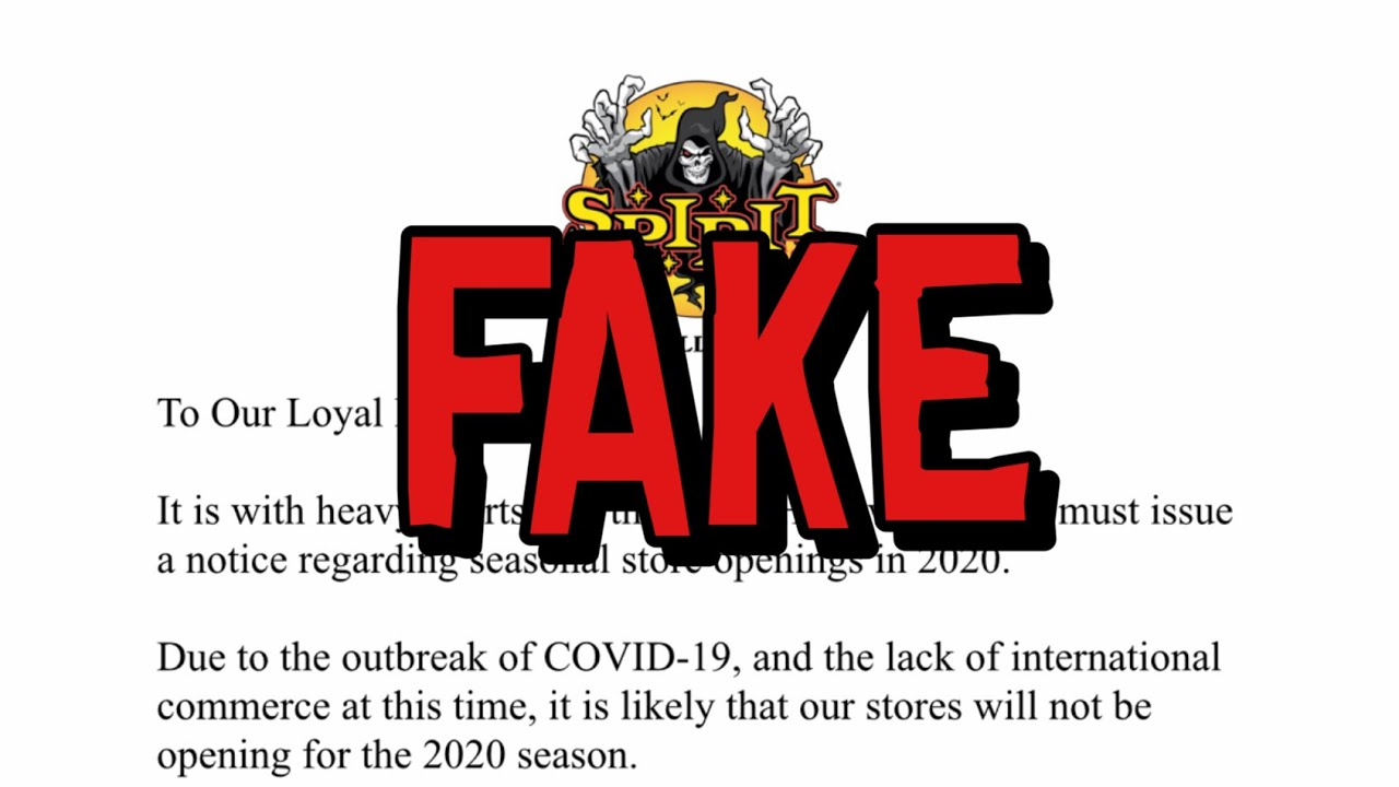 Halloween 2020 Letter The Story Behind the Spirit Halloween COVID 19 Closure Letter Hoax