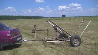 Самодельный прицеп для перевозки  сена в рулонах.