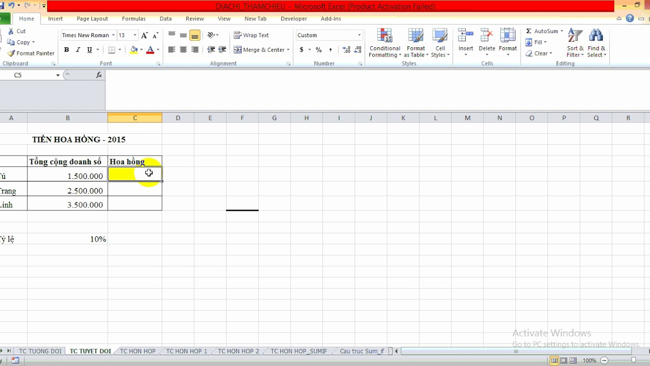 Hướng dẫn làm địa chỉ tuyệt đối trong Excel