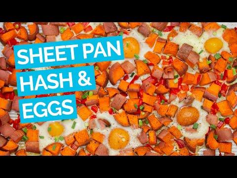 Easy Sheet Pan Sweet Potato Hash & Eggs