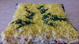 Очень вкусный и сытный салат с ПЕЧЕНЬЮ ТРЕСКИ Рецепт салата Вкусный салат