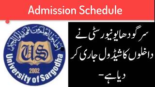 Admission Schedule 2018 University of Sargodha For MA/MSC