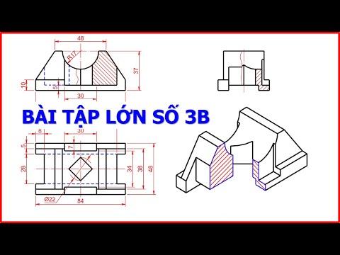Vẽ kỹ thuật   BÀI TẬP LỚN số 3b - Vẽ hình chiếu trục đo, Hình cắt kết hợp Hình chiếu