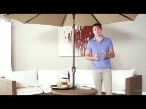 Galtech 9-ft. Aluminum Deluxe Auto Tilt Patio Umbrella - Product Review Video