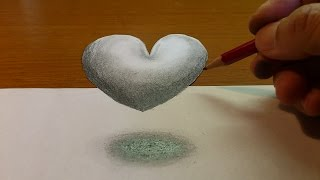 How To Draw 3D Levitating Love Heart - Optical Illusion - Anamorphic illusion