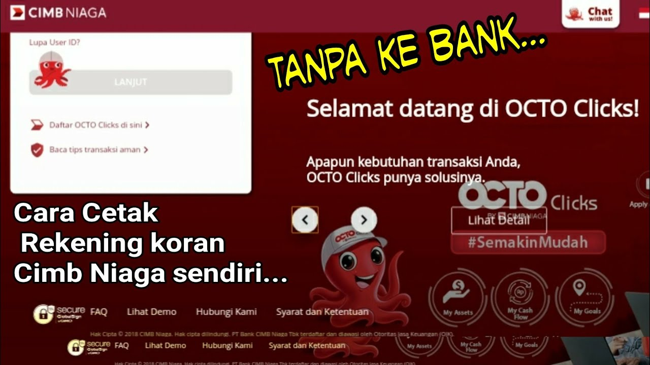Cara Cetak Rekening Koran Cimb Niaga Sendiri Tanpa Harus Ke Bank Octo Clicks Youtube
