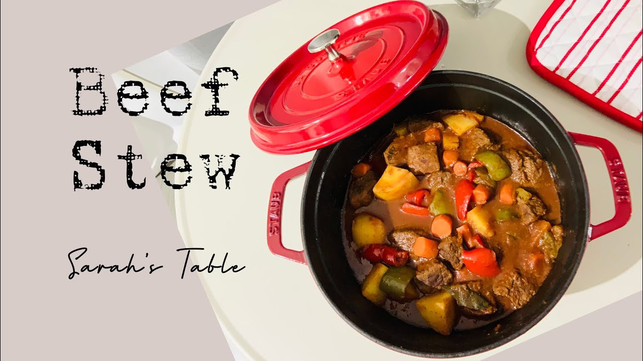 Beef Stew Cooking In Staub Dutch Oven Sarah S Table Ep 47 Sarahstablechannel Youtube