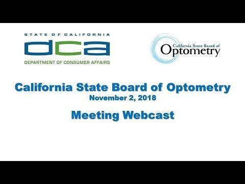 California State Board of Optometry meeting - November 2, 2018
