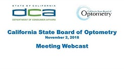 California State Board of Optometry meeting - November 2, 2018